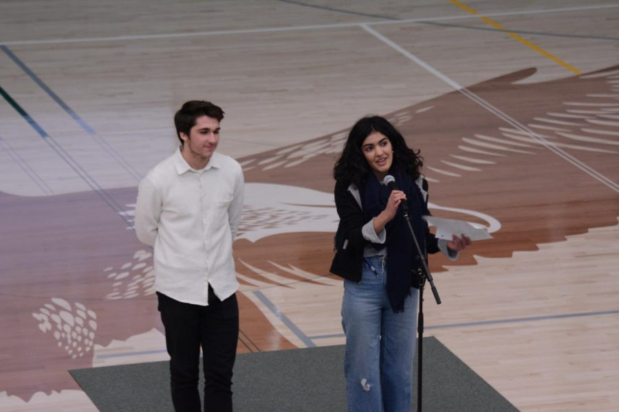 History Club members Andrew Skrobak (11) and Aryana Far (11) announce the next Shah Salon. This Salon will be the third installment of the series of this school year.