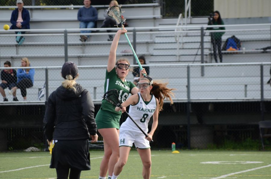 Lauren Russell (12) engages in the draw with a player from Stevenson. The draw begins play in lacrosse as a means of determining the first ball possession, and is performed both to begin the game and after each point.