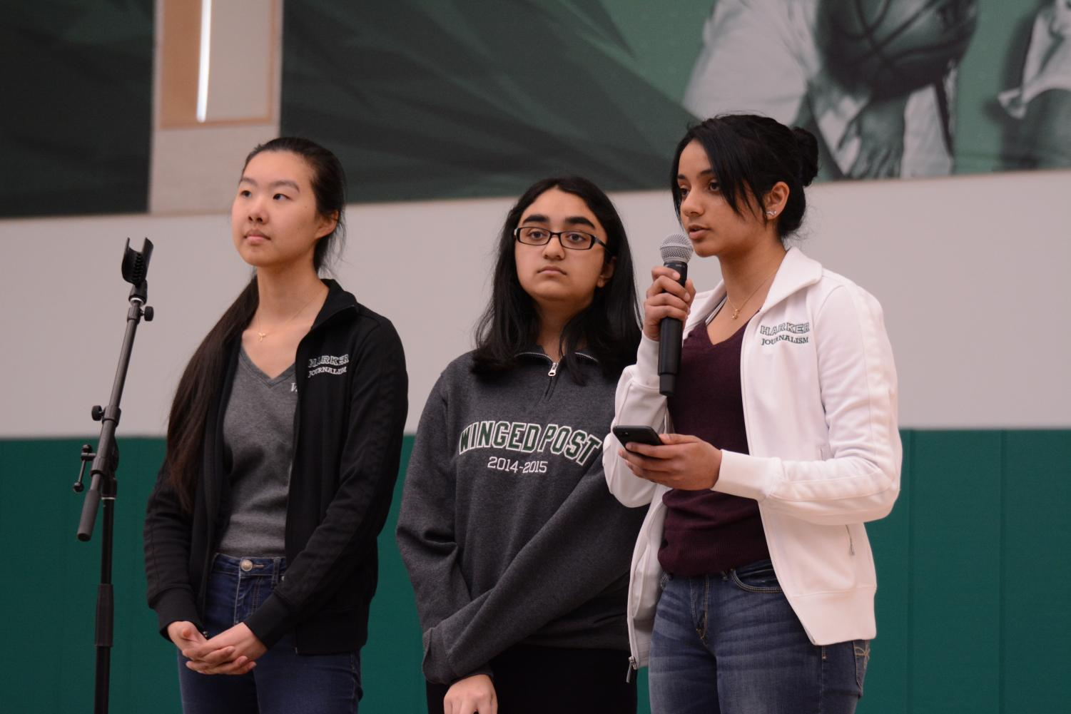 Winged Post Co-Editors-in-Chief Kaitlin Hsu (12) and Sahana Srinivasan (12) and Harker Aquila Editor-in-Chief Meena Gudapati (12) announce the release of Issue 5 of the Winged Post and a Harker Aquila package about the Marjory Stoneman Douglas High School shooting. Harker Journalism conducted interviews with MSD students Emma Gonzalez and David Hogg as well as MSD journalism teacher Melissa Falkowski for coverage of the shooting.