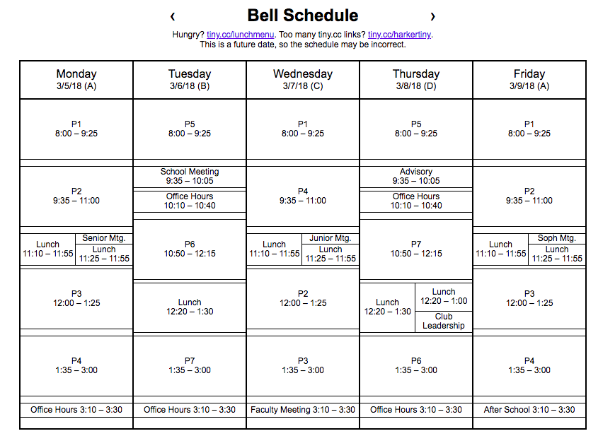 The bell schedule created by the Harker Dev. The team also manages websites like Harker lunch menu, course planner and a GPA calculator.