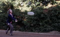 Allersma demonstrates her frisbee skills. Allersma has played both competitively and recreationally.