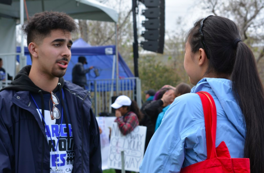 Harker junior interviews Prospect High School senior and organizer Hiwad Haider. The March for Our Lives protest in San Jose was organized by Bay Area students.