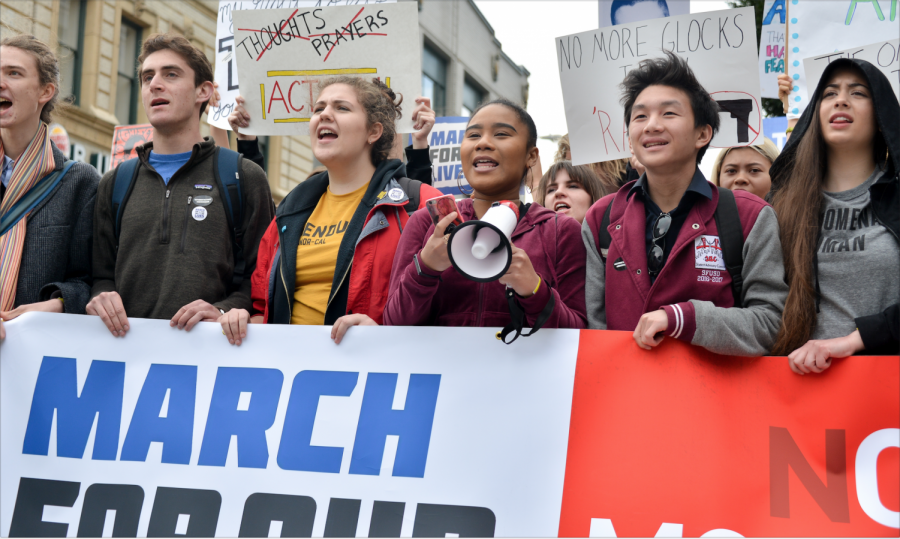 Students that spearheaded the march in San Francisco prepare to partake in the march following the rally. More than 25,000 people participated in the San Francisco march alone on March 24.