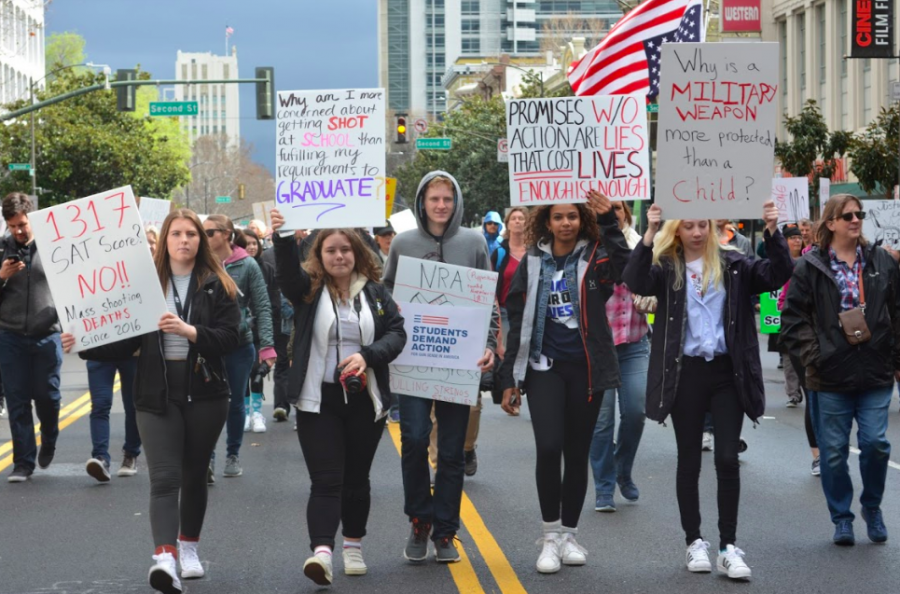 High school students protest at March for Our Lives San Jose on March 24.