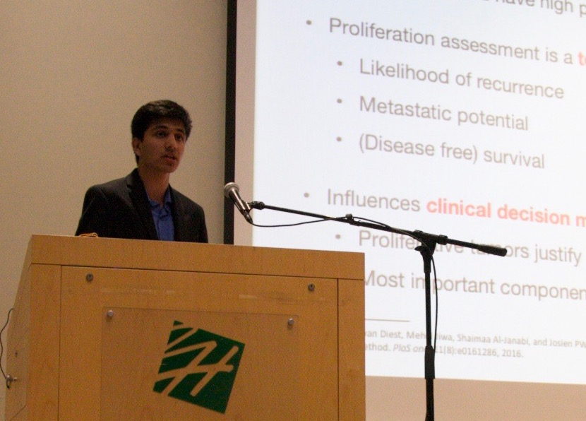 Manan Shah (17), a national finalist in the 2016 Siemens Competition, gives a talk at the 2017 Research Symposium. Shah was Harkers only national finalist that year.