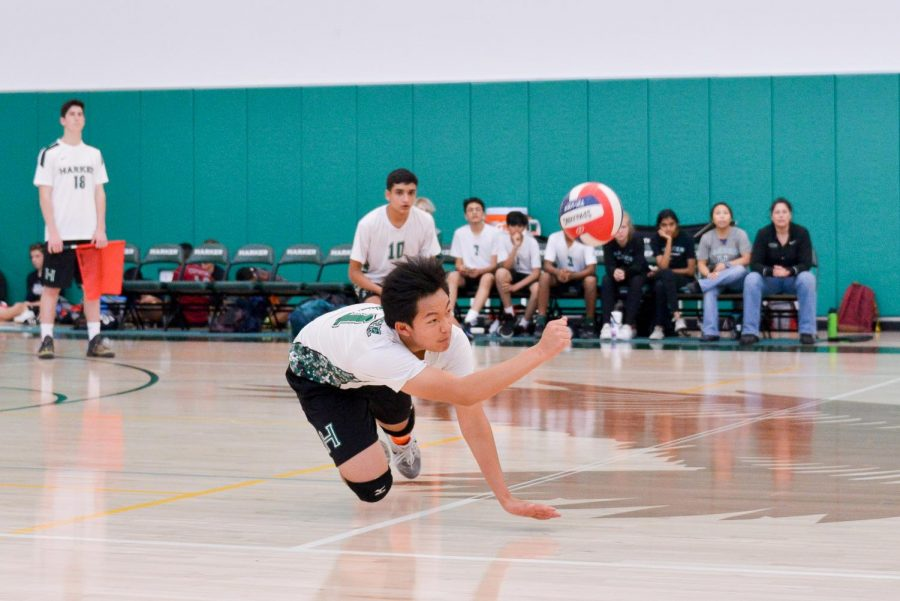 Sophomore+David+Feng+dives+for+a+ball+during+the+game+against+Cupertino+High+School.+The+team+has+eight+games+left+in+their+season.