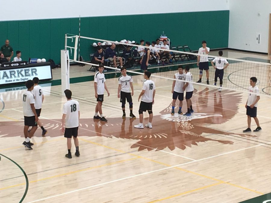 The+varsity+boys%27+volleyball+game+stands+in+position+before+the+ball+is+served+by+the+other+team.+They+won+their+game+against+Lynbrook+in+three+sets.