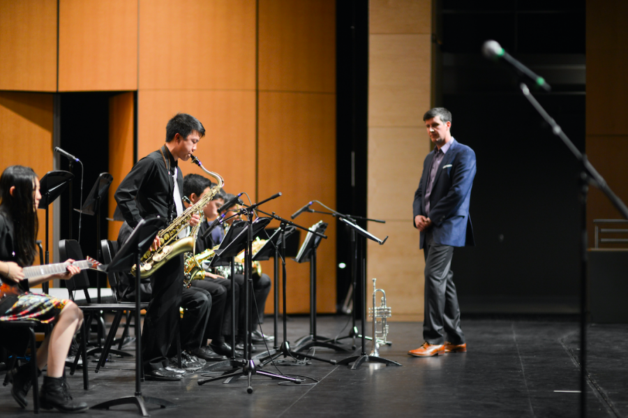Brendan Wong (10) performs a saxophone solo during the An Evening of Jazz concert. Held on March 16, this year's An Evening of Jazz was the third concert held in the new Rothschild Performing Arts Center.