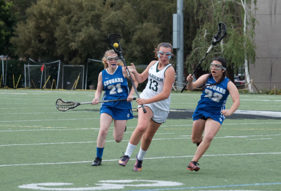 Freshman+Reina+Joseph+cradles+the+ball+as+she+runs+towards+the+goal%2C+keeping+it+away+from+the+opposing+team.+The+girls+lacrosse+team+is+currently+undefeated+with+an+8-0+record.