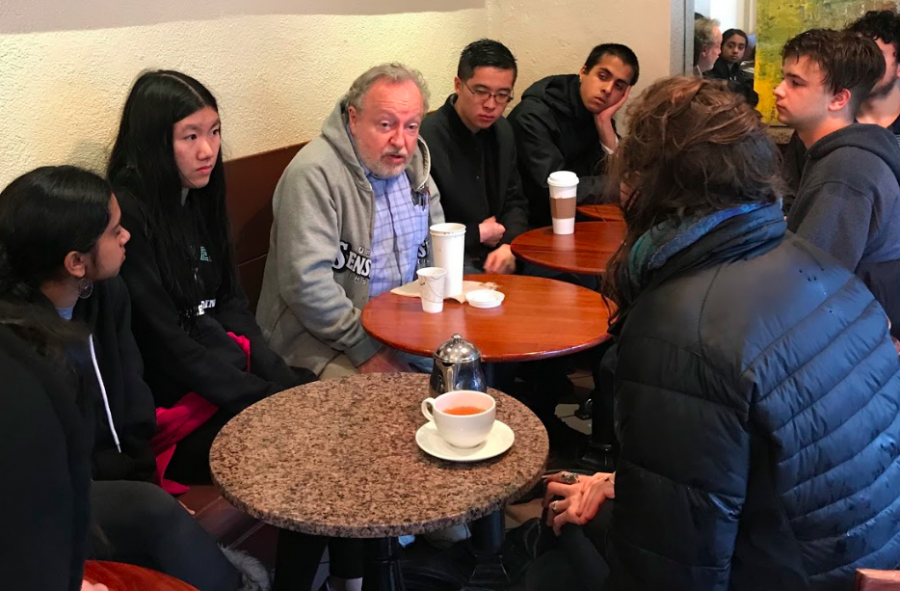 Students talk to Gerald Nicosia, biographer of Jack Kerouac and beat poet. The beat generation, a group of poets that wrote after the second world war, greatly influenced political ideals at the time.
