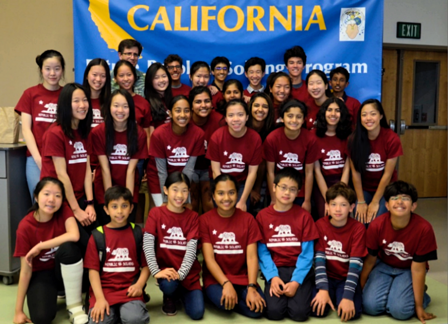 Harker FPS' delegation to this year's FPS State Bowl poses for a group photo by the state banner. The event was held at Design39 in San Diego from April 20 to 22.