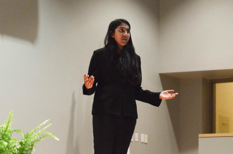 Extemporaneous speaker Meha Goyal (9) addresses the possibility of the Democratic Party gaining a majority in the House of Representatives in 2018. Today's annual Speech Showcase was held in Nichols Auditorium from 6 to 7:30 p.m.