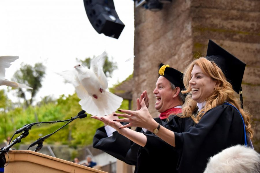 Head+of+School+Brian+Yager+and+Assistant+Head+of+School+Jennifer+Gargano+released+doves+to+celebrate+the+graduation+of+the+Class+of+2018+at+the+end+of+the+ceremony.