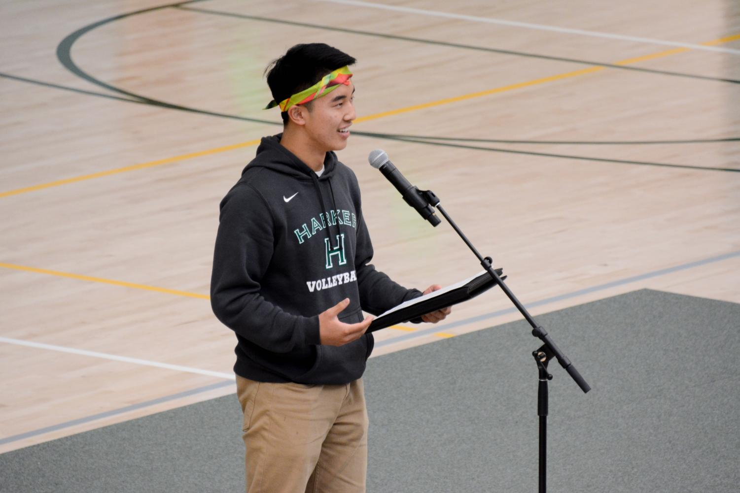 ASB president Jimmy Lin (12) delivers his State of the School address, in which he reviewed student council's projects and work over the course of the school year. Jimmy delivered his customary line,