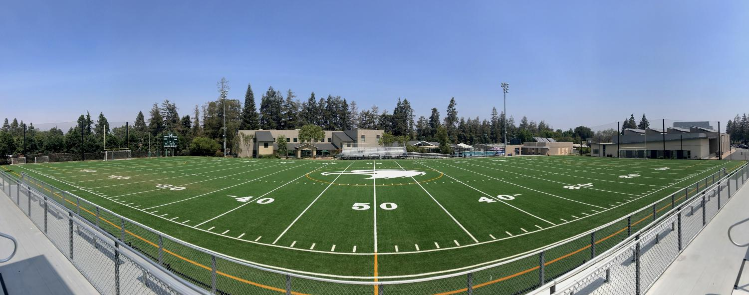 Davis Field took six weeks to replace, finishing a week before the football team's first game. The new field has a more eco-friendly, natural infill consisting of cork, sand, and coconut husk.