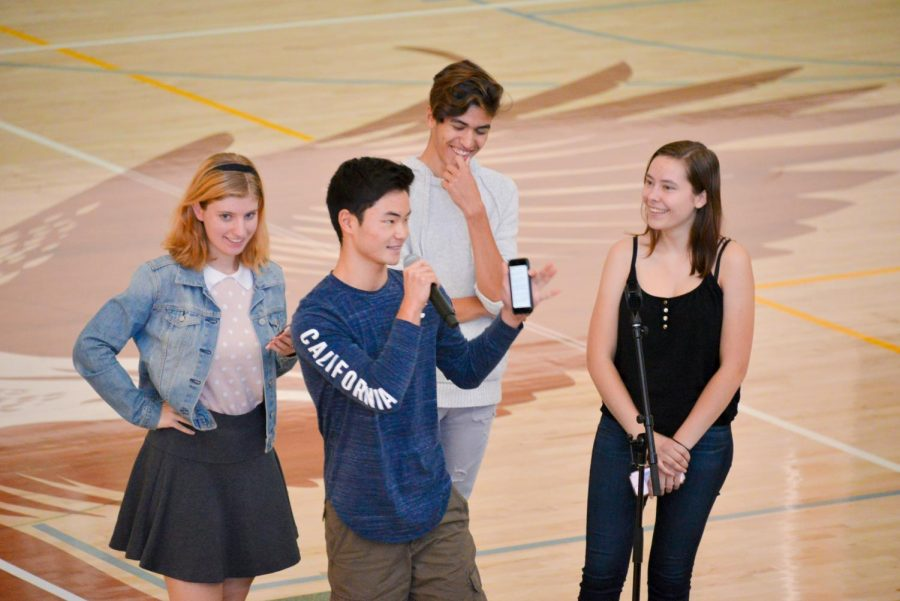 Performing arts representative Emmy Huchley (12), Alex Kumar (10), Vance Hirota (11) and Ellie Lang-Ree (12) announced information about upcoming dance show auditions, which will be held in RPAC this Saturday afternoon.