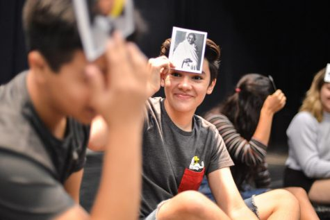 Joel Morel (11) participates in an activity led by actors in the Oregon Shakespeare Festival company on Saturday morning. A group of upper school students, accompanied by four teacher chaperones, travelled to Ashland on an annual trip this past weekend.