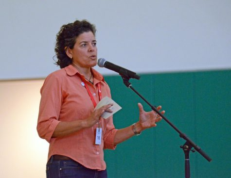 Jackie Nunez, founder of The Last Plastic Straw, speaks at a school assembly on Thursday about the impact of single-use plastics. Nunez's presentation followed a screening of