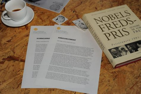 The announcement sheets for the Nobel Prizes. The Nobel Foundation announced the laureates for Physiology or Medicine, Physics, Chemistry, Economic Science and Peace starting Oct. 1.