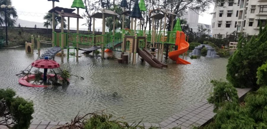 Children playground in Chai Wan, Hong Kong was submerged in flood water after Typhoon Mangkhut. The typhoon arrived in Hong Kong on Sept. 15.