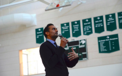 Dr. Ali Mattu speaks to the Harker community about collaboration. He spoke to all four grades during lunch today.
