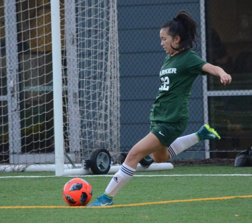 Aria Wong (10) kicks the ball. The Eagles controlled the game, winning 5-0.