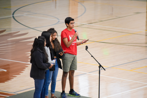 Forensics representatives Nakul Bajaj (11), Nikki Solanki (11), Maddie Huynh (11) and Anusha Kuppahally (12) announce results from recent competitions.