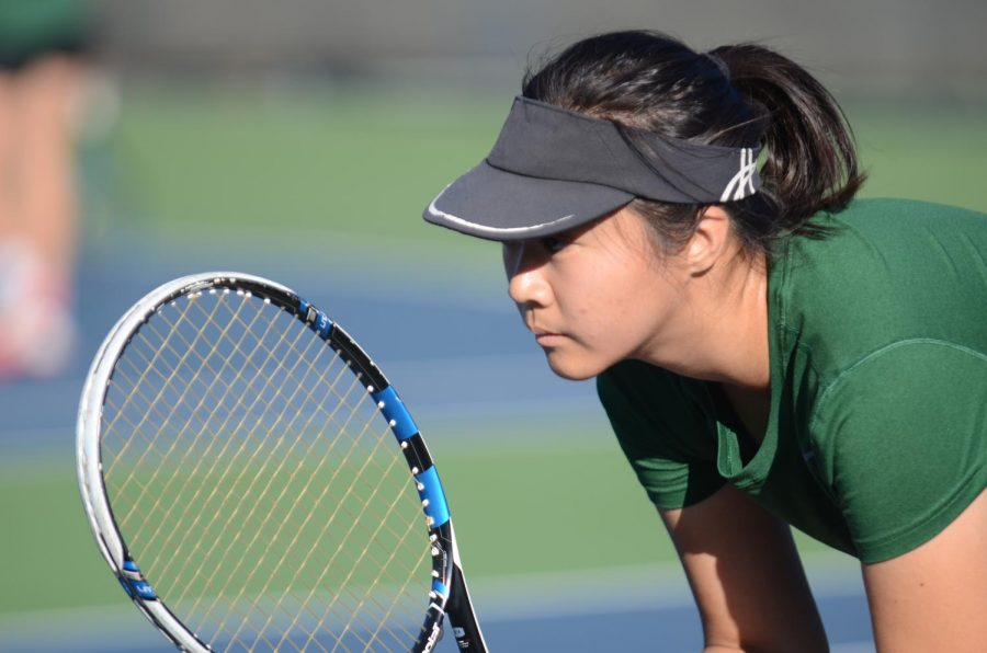 Amanda+Cheung+%2811%29+waits+to+recieve+the+ball+during+the+WBAL+individual+tournament.+The+girls+varsity+tennis+team+finished+off+their+8-4+season+with+a+5-1+win+over+the+Sanger+Apaches.+