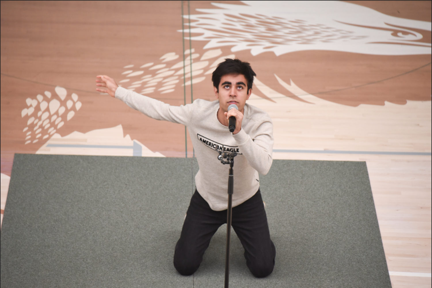 Avi Gulati (11), who won the Harker division of the annual Shakespeare Competition last year, performs a monologue from