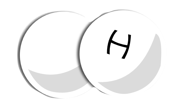A rendition of an H2 molecule of the hydrogen gas used in fuel cells.