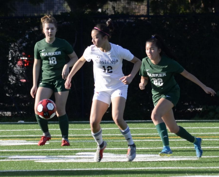 Aria Wong (10) and a Castilleja player fight for possession of the ball. The girls next play against Pinewood on Friday at 4:30 p.m. at home.