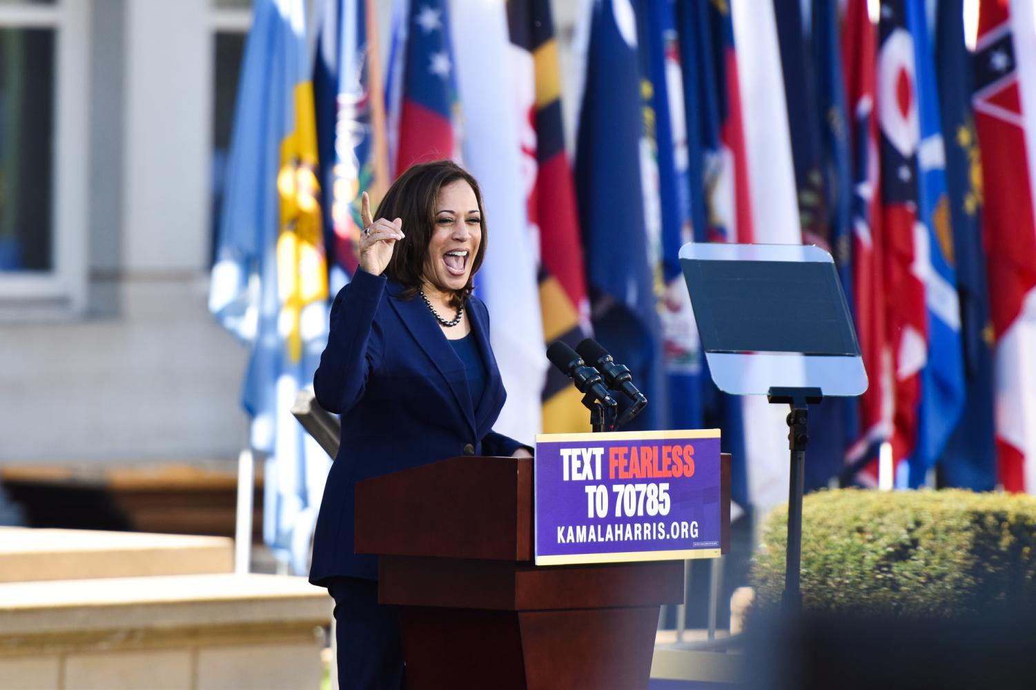 Kamala Harris addresses a large crowd gathered in the Frank Ogawa Plaza in her hometown, Oakland, on Jan. 27 to officially announce her bid for presidency in 2020.