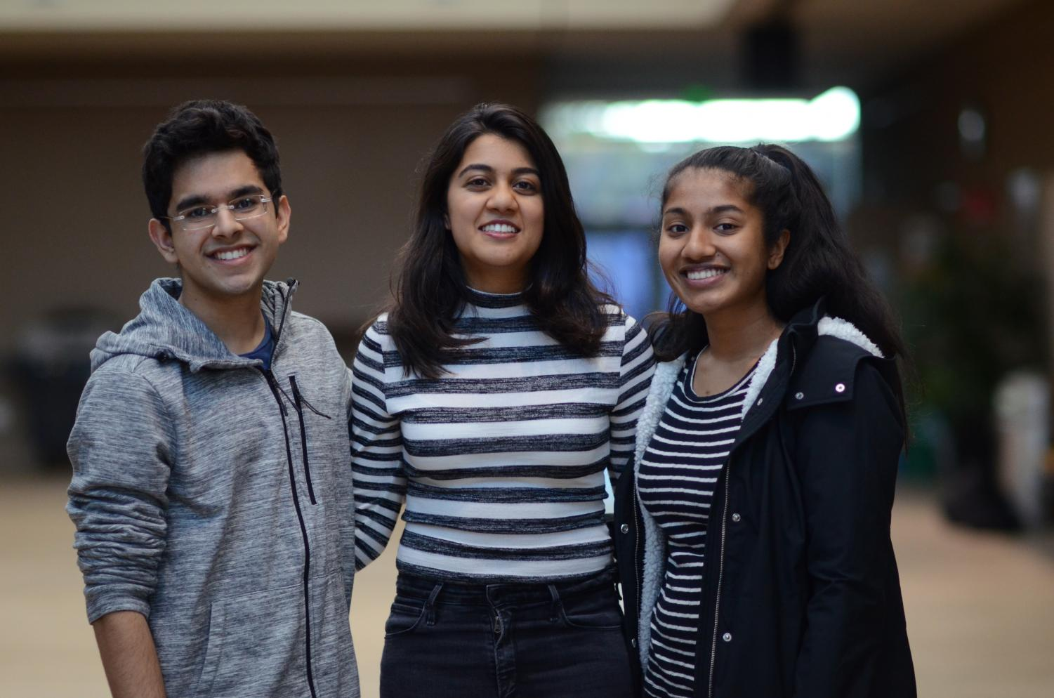 Harker's 2019 Regeneron Science Talent Search finalists, all seniors, pose for a picture. From left to right: Ayush Alag, Natasha Maniar and Ruhi Sayana.