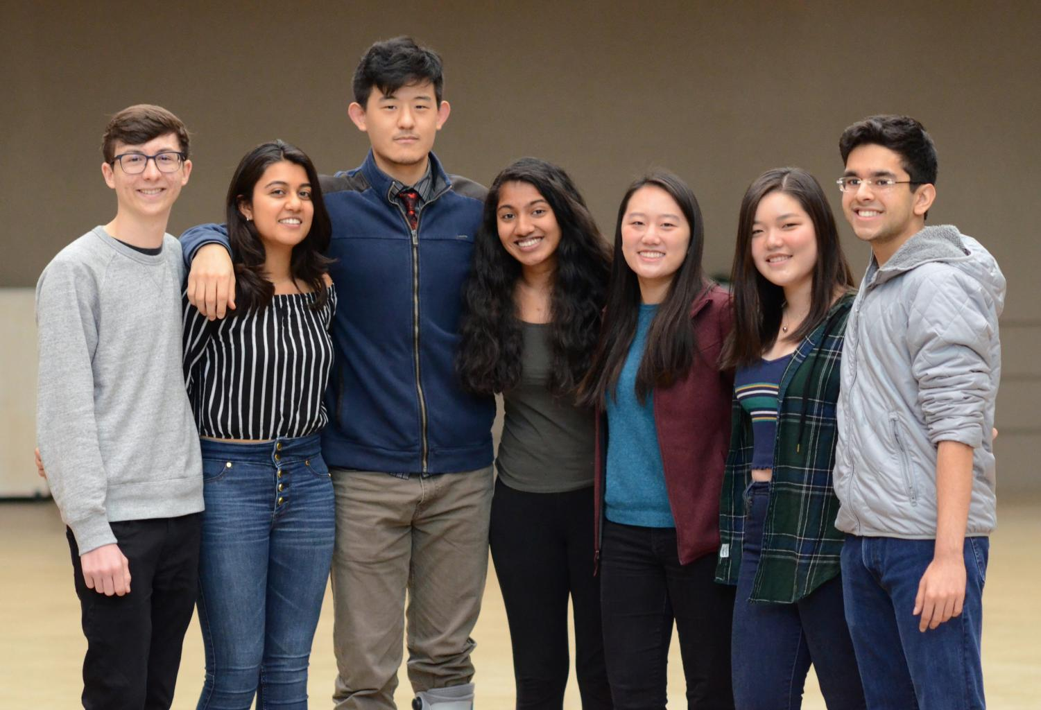Harker's 2019 Regeneron Science Talent Search scholars pose for a picture. From left to right: Cameron Jones, Natasha Maniar, Richard Wang, Ruhi Sayana, Katherine Tian, Cindy Wang and Ayush Alag, all seniors. Natasha, Ruhi, and Ayush were finalists as well.