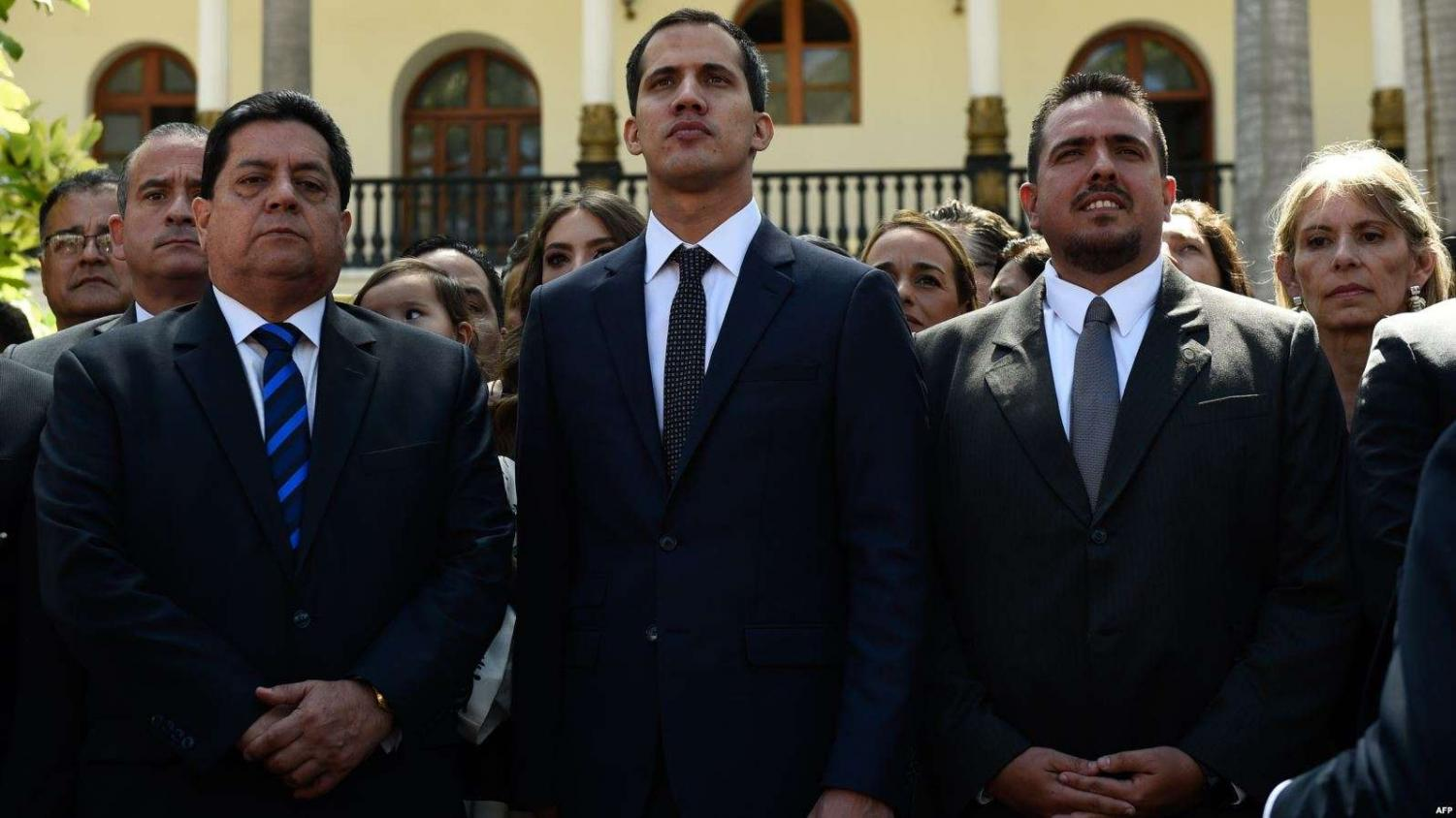 Juan Guaido stands with two fellow politicians, Edgar Zambrano (left) and Stalin Gonzales (right). Guaido declared himself Interim President of Venezuela on Jan. 23, sparking massive controversy and outcry globally.