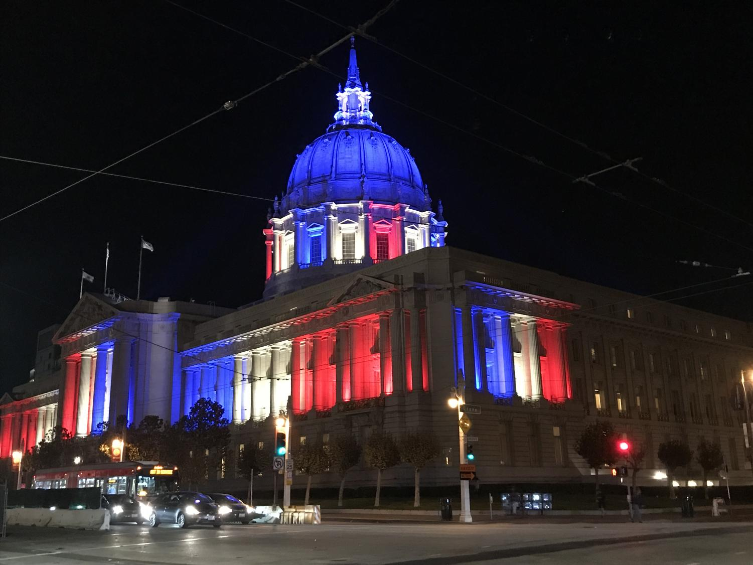 The San Francisco City Hall lit up in the colors of the American flag. Government workers across multiple federal agencies are without pay due to a government shutdown that has lasted 22 days.