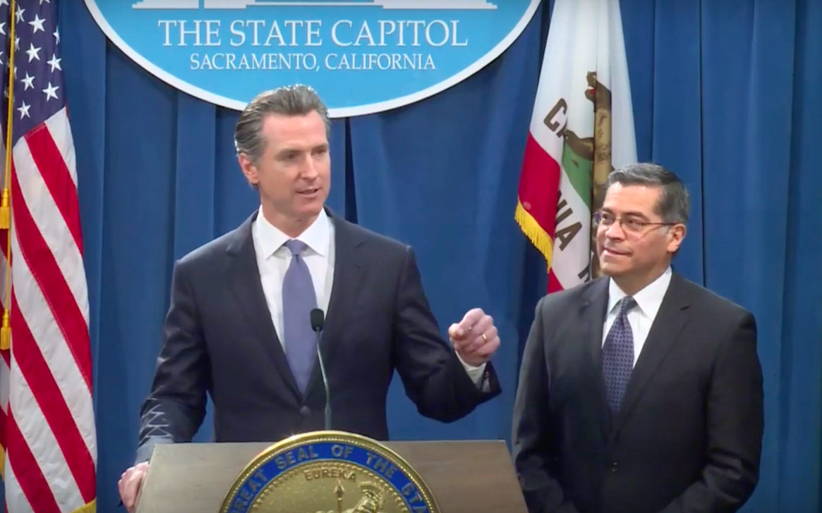Governor Gavin Newsom holds a press conference to announce the lawsuit. Newsom claimed President Donald Trump's actions as unconstitutional and not based on legitimate grounds.