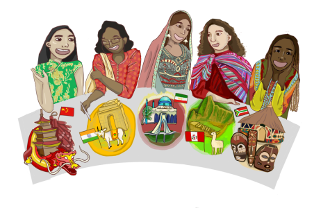 5 mothers sit at the table, sporting cultural garb and sitting behind plates symbolizing their native cultures. From left to right, the cultures represented are Chinese, Indian, Persian, Peruvian, and African American.