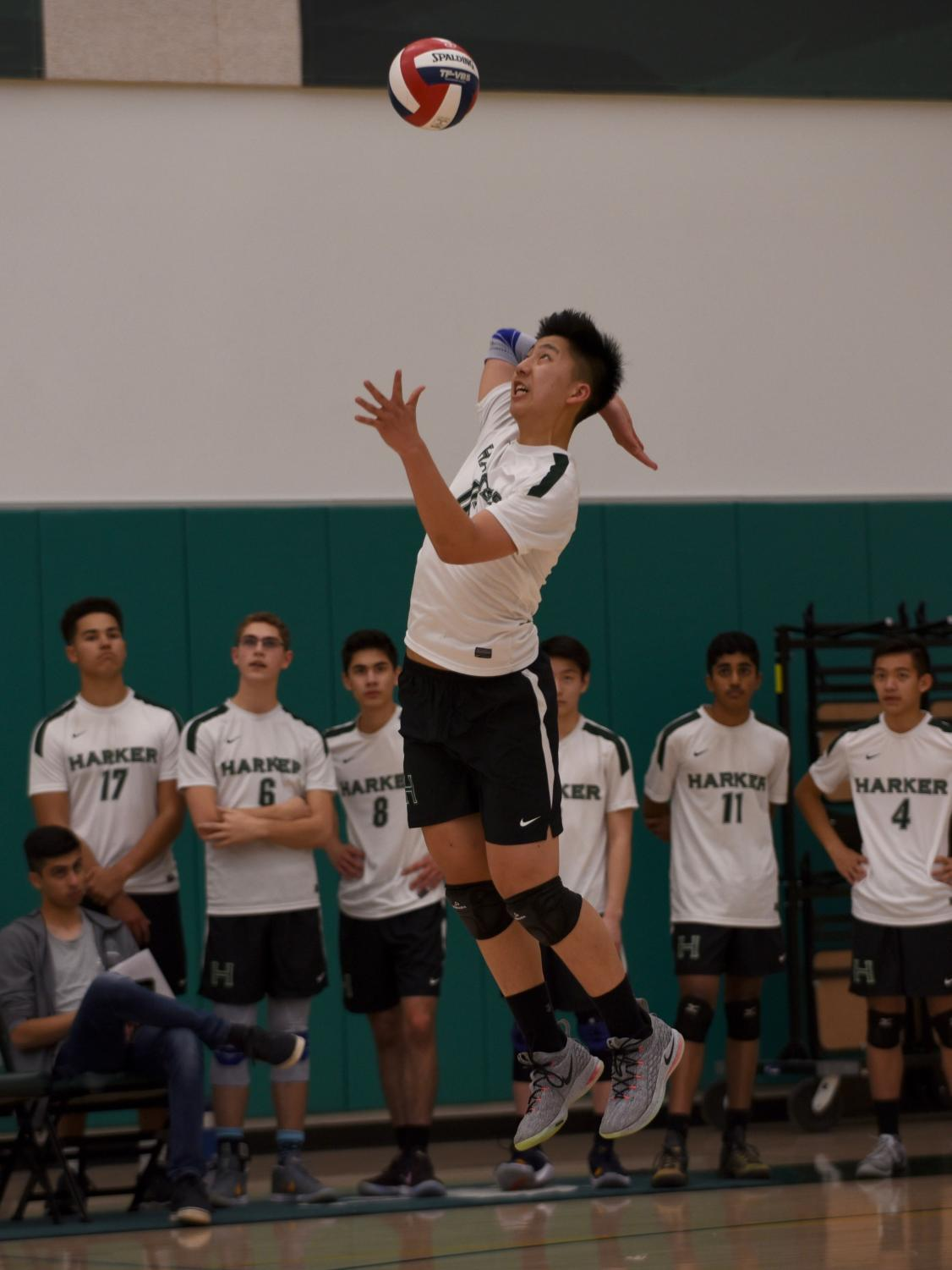 Billy Fan (10) jumps up and serves against Homestead. The team has an 18-0 record set-wise this season.