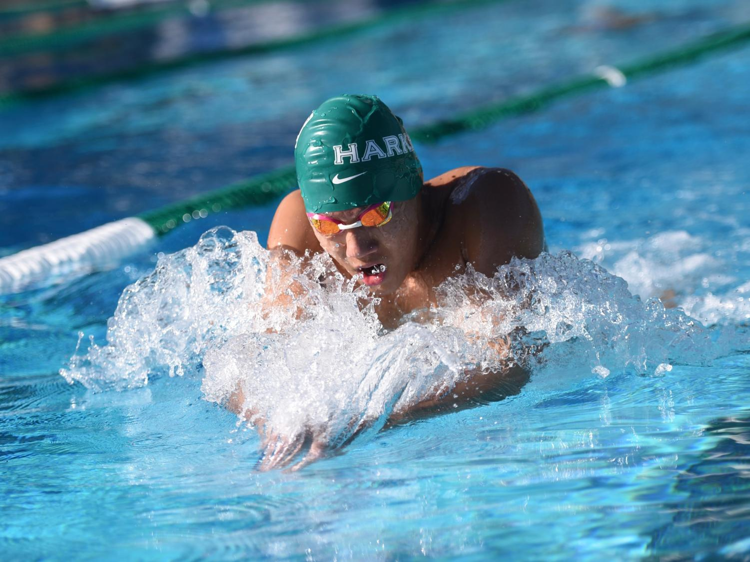 Andrew Chang (10) swims during the swim meet on Thursday. Matthew placed first in the 200 meter and 500 meter freestyle.