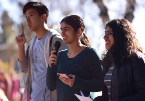 Green Team members Alex Shing (11), Sachi Bajaj (10), and Anvi Banga (11) led Harker students on a walkout as part of the Youth Climate Strike. Green Team organized the event, which was partaken in by students all around the world in efforts to push lawmakers to focus on climate-related policy.