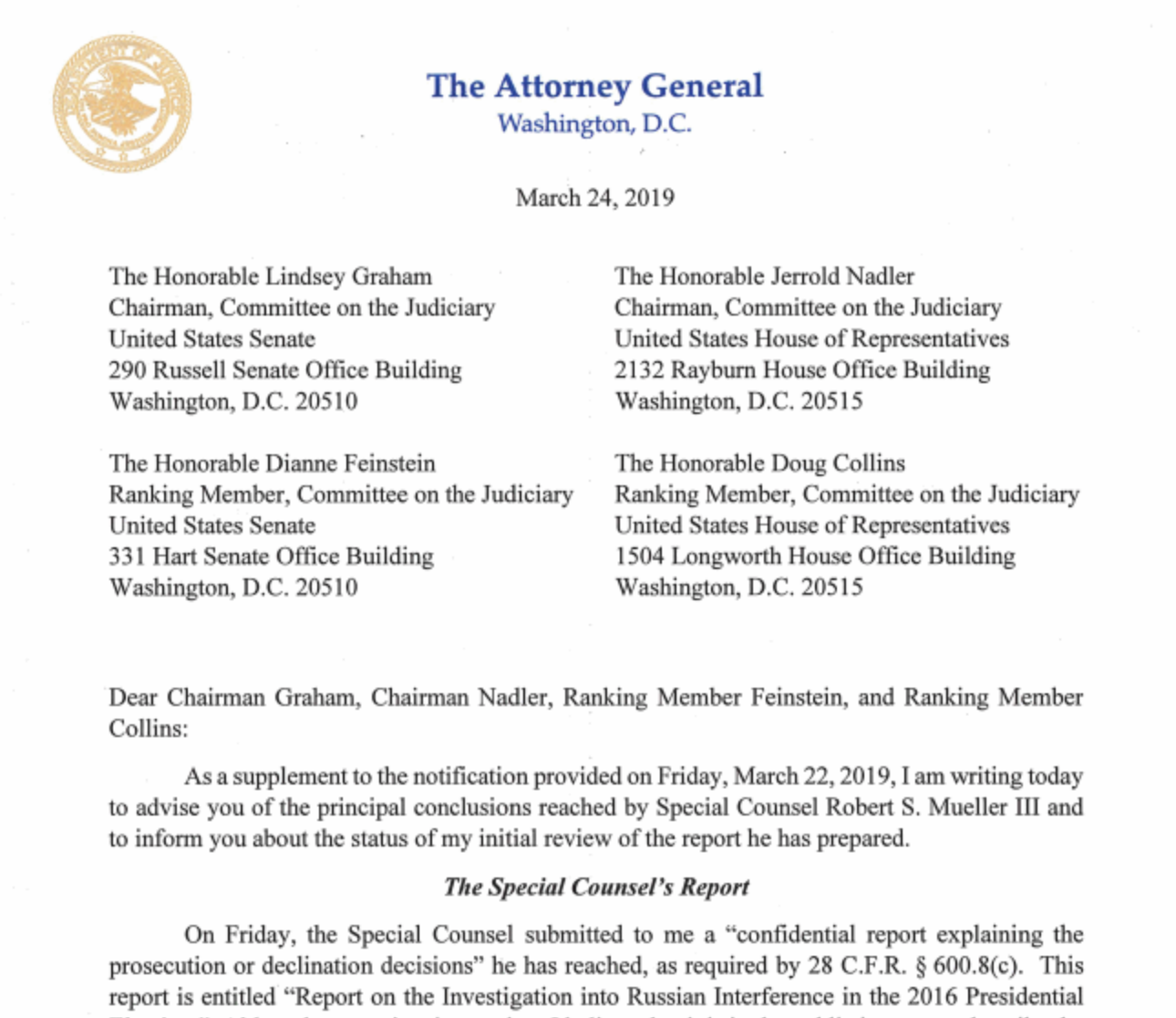 The letter submitted by Attorney General William Barr to Congress. The letter was later disclosed to the public and declares that the special counsel did not find any knowing coordination between the Trump campaign and Russia during the 2016 election.