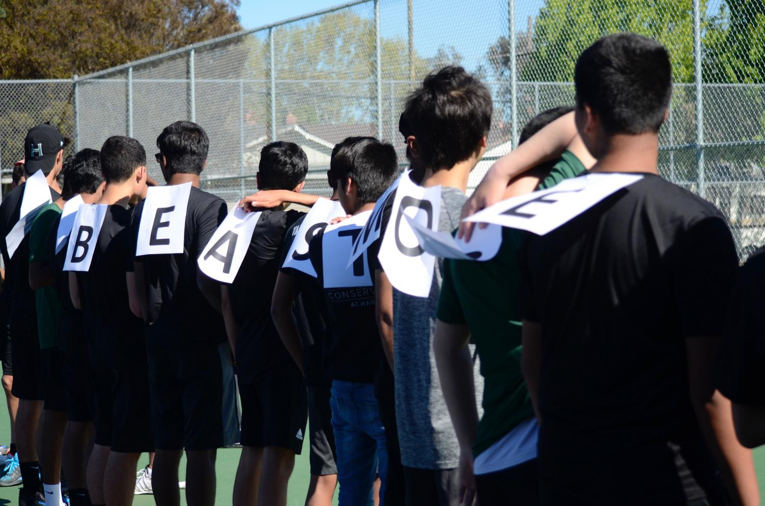"The team lines up with letters taped to their backs that spell out ""KAISHANT BEAST MODE FOREVER"" to honor the two seniors. 	""Our two seniors have been just massive on the team, just massive supporters and great players. They definitely know how to conduct themselves on and off the court,"" assistant coach Mike Nguyen said. ""[This is] the culmination of their high school experience and its just one of those crucial times where they transition to college."""