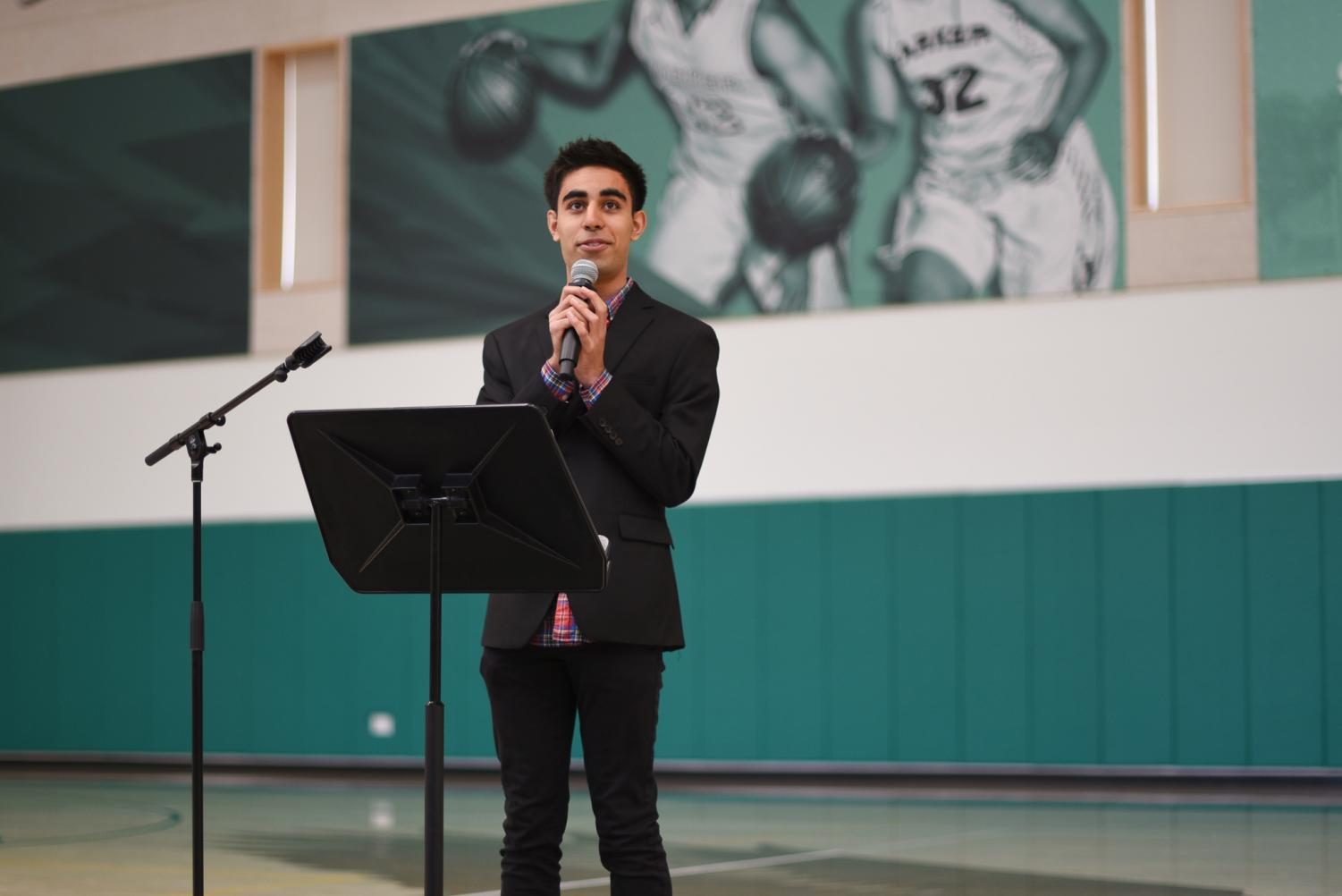 Avi Gulati (11), who is running uncontested for ASB president, delivers his speech to close out yesterday's assembly. Avi and five other juniors are running for five positions on the ASB council next year.