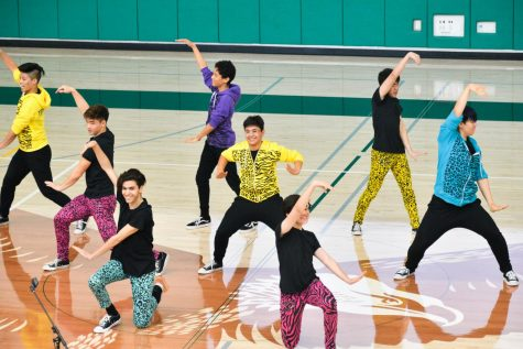 Kinetic Krew performed at school meeting on Tuesday to preview the upcoming Just Dance showcase, which will be held in the Patil Theater on Friday.