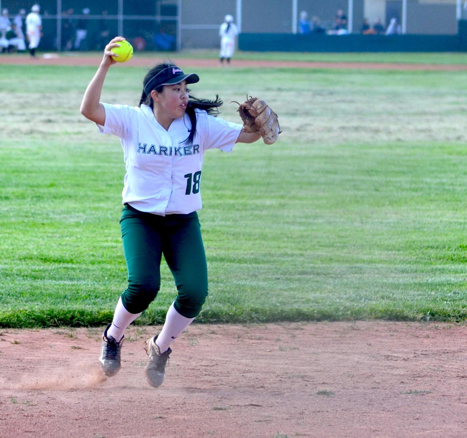 Taylor Lam (12) throws a ball to second base in a game against El Camino High. The Eagles won the game 14-11.