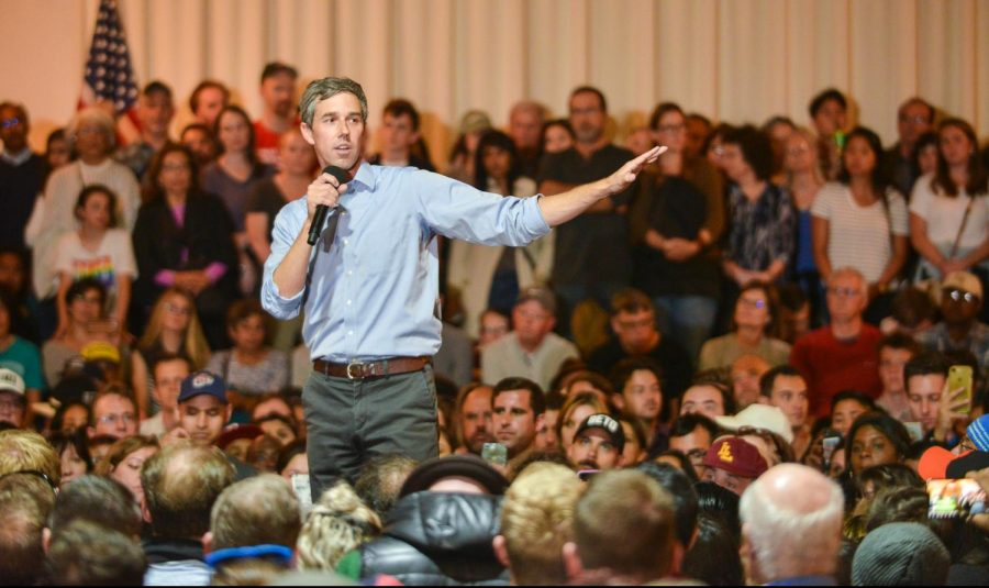 Former Rep. Beto O'Rourke addresses a crowd of supporters and voters at a town hall event in San Francisco this afternoon. O'Rourke announced his bid for the presidency on March 14 and made his first stop in the Bay Area today.