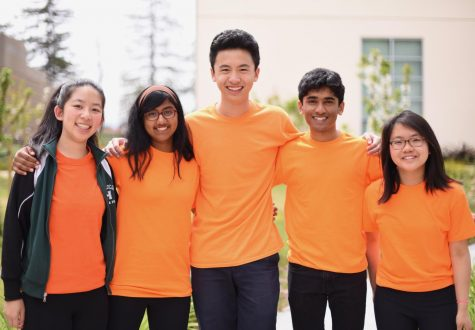 Michael Eng (10) stands with Irene Yuan (9) and Anna Vazhaeparambil (10) to his right and Arya Maheshwari (10) and Sara Yen (10) to his left.