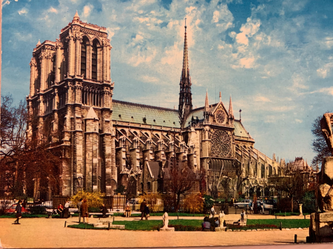 A photo of the Notre Dame cathedral. The cathedral, which is 865 years old, caught fire today due to unknown reasons.