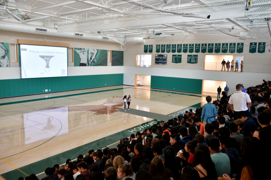 The+student+body+and+faculty+gather+in+the+Athletic+Center+to+watch+the+documentary+%22Angst%22+on+Monday.